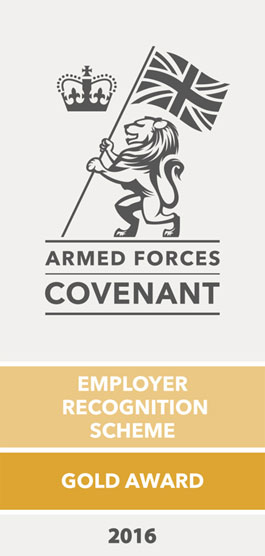 Armed Forces Covenant employer recognition scheme gold awardin 2016