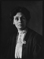 *Emmeline Pankhurst, circa 1910, half-plate film negative copied by Bassano Ltd, copied 9 June 1965 (courtesy of National Portrait Gallery under licence)