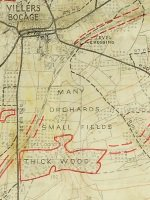Section of map showing Normandy bocage, 1940s