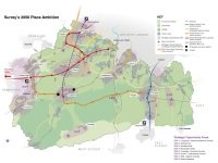 Link to a map of the Surrey Place Ambition, which encompasses the agreed shared vision and set of strategic priorities that partners are working towards. The map shows a range of transport infrastructure improvements to be delivered throughout the strategy's lifespan up to 2050 as well as five new community settlements. In addition, the larger strategic opportunity areas act as the focus for increased infrastructure delivery, such as housing.