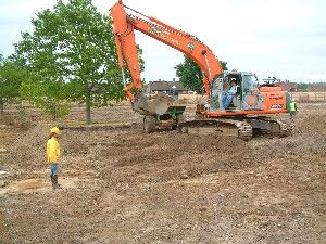 Stripping the site at Christ College, Guildford