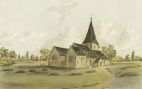 Watercolour of All Saints Church Banstead from the north east by John Hassell. SHC ref 4348/2/78/1