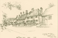 Cottages on Limpsfield High Street, the drawing is labelled with the names of the occupants in July 1931.The exteriors of the cottages have hardly altered since 1931.