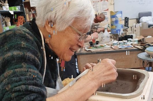 Taka in a pottery class