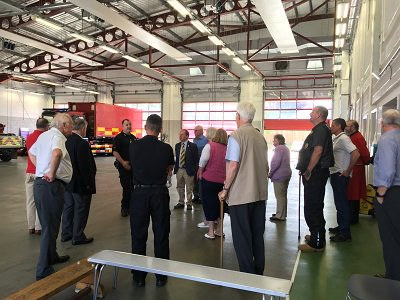 People being shown the inside of the fire station