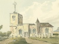 Early 19th cent John Hassell watercolour of Bletchingley church