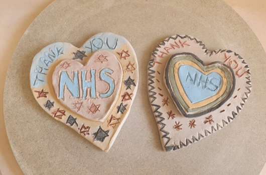 Hearts made thanking the NHS