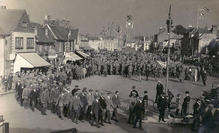 Epsom, recruiting parade for the Royal Fusiliers, High Street, c.1914 (SHC ref PC/58/82)