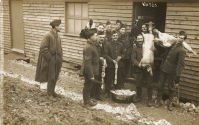Woldingham camp - view of soldiers outside a meat store with a bucket of sausages and pig carcasses, c.1915 (SHC ref PC/161/12)