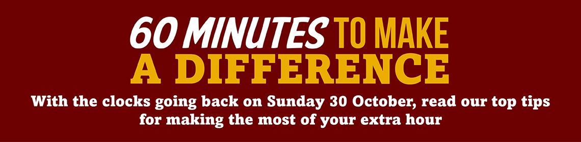 Use your extra hour to make a difference banner