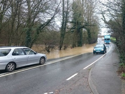 A22 flooded road