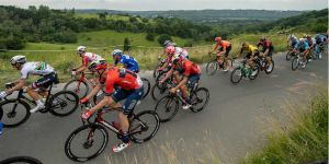 Cyclists in peloton on Box Hill Surrey
