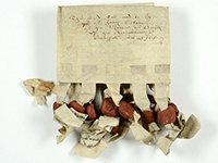 Feoffment to uses of James Skinner of 1531, with 13 seals (SHC ref 6330/3/9/50)