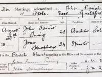 John Turing marriage certificate