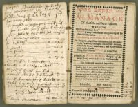 Pages from Poor Robin Almanack showing Joseph Brooker's expenses, including for mending church windows, beside Poor Robin frontispiece. (ref. 9171/5/1)