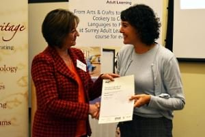 Learner receiving their certificate from SAL Governor, Julie Iles