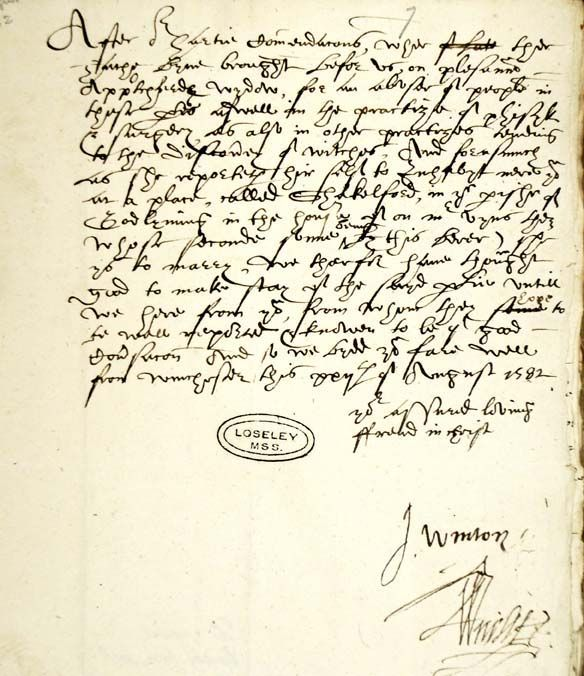 Witchcraft - Letter from the Bishop of Winchester SHC ref 6729/9/7
