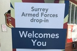 Sign stating Surrey Armed Forces drop-in welcomes you