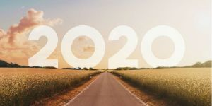 2020 sign on a road on the horizon