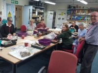 Volunteers washing finds from Witley Camp