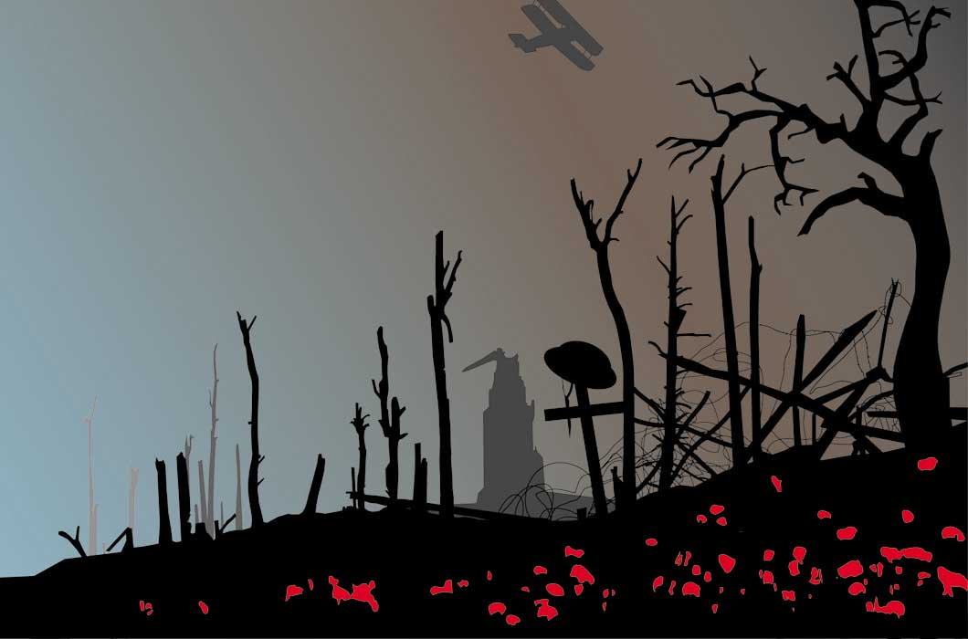 World war one scene showing dead trees, poppies and a bi-plane in the skysingle